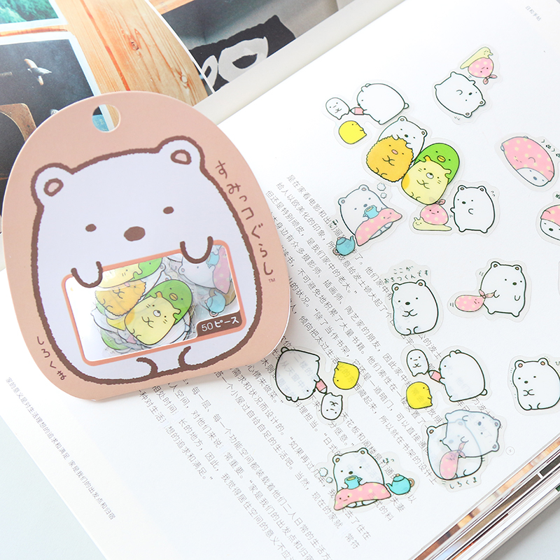 50 Pcs/pack Kawaii Stickers DIY Cute Cartoon PVC Stickers Lovely Cat Bear Sticker For Diary Decoration