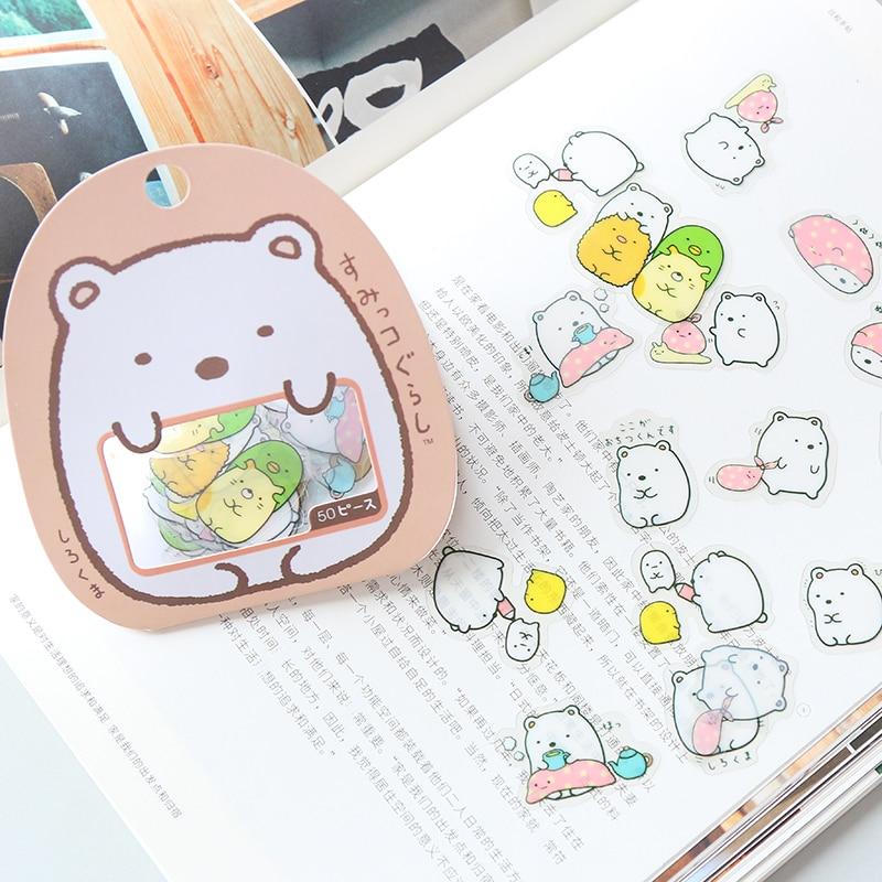 50 Pcs/pack Kawaii Stickers DIY Cute Cartoon PVC Stickers Lovely Cat Bear Sticker For Diary Decoration
