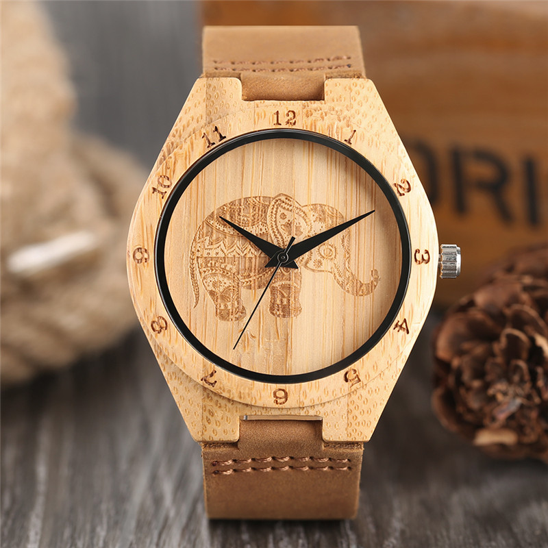 Wooden Watch Relogio Masculino Casual Women Boho-Style Gift Dial Carving Novel Elephant