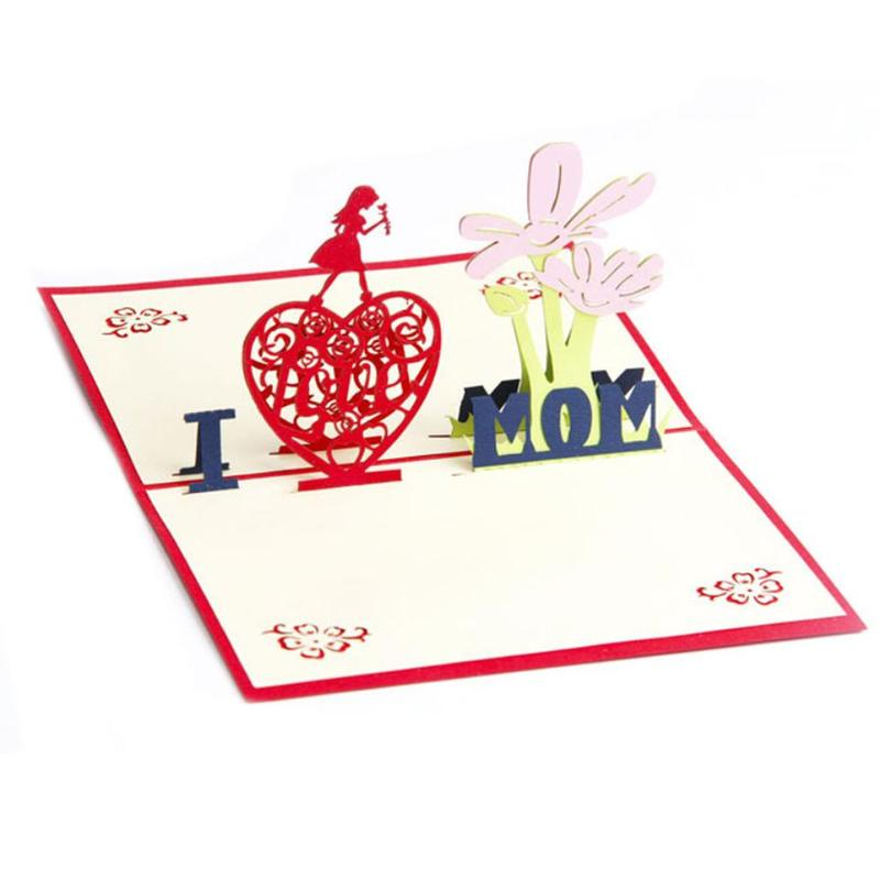 I Love Mum 3D Pop Up Card Paper Flowers Girls Birthday Party Greeting Cards Mothers Day Gift Postcard SKP5341