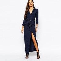 Europe Elegant Long Sleeve Single Breasted Pocket Belt Casual Maxi Autumn Dresses DM8228N