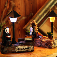 Away No Face Resin Night Lamp Craft Mini Miniature Garden Decor Ornament