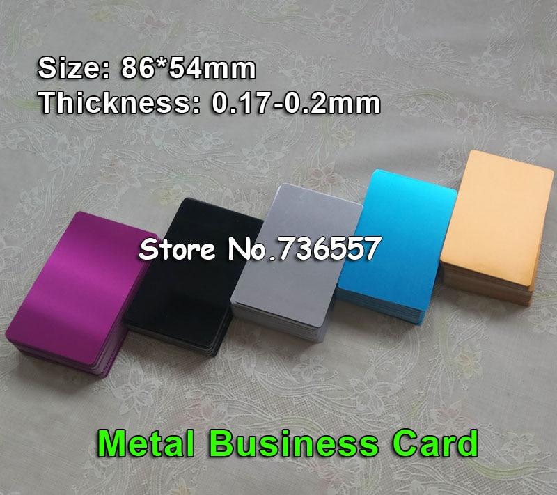 100 Pcs//Set Alumium Colorful Blank Business Cards Laser Mark Engraveable THIN Q
