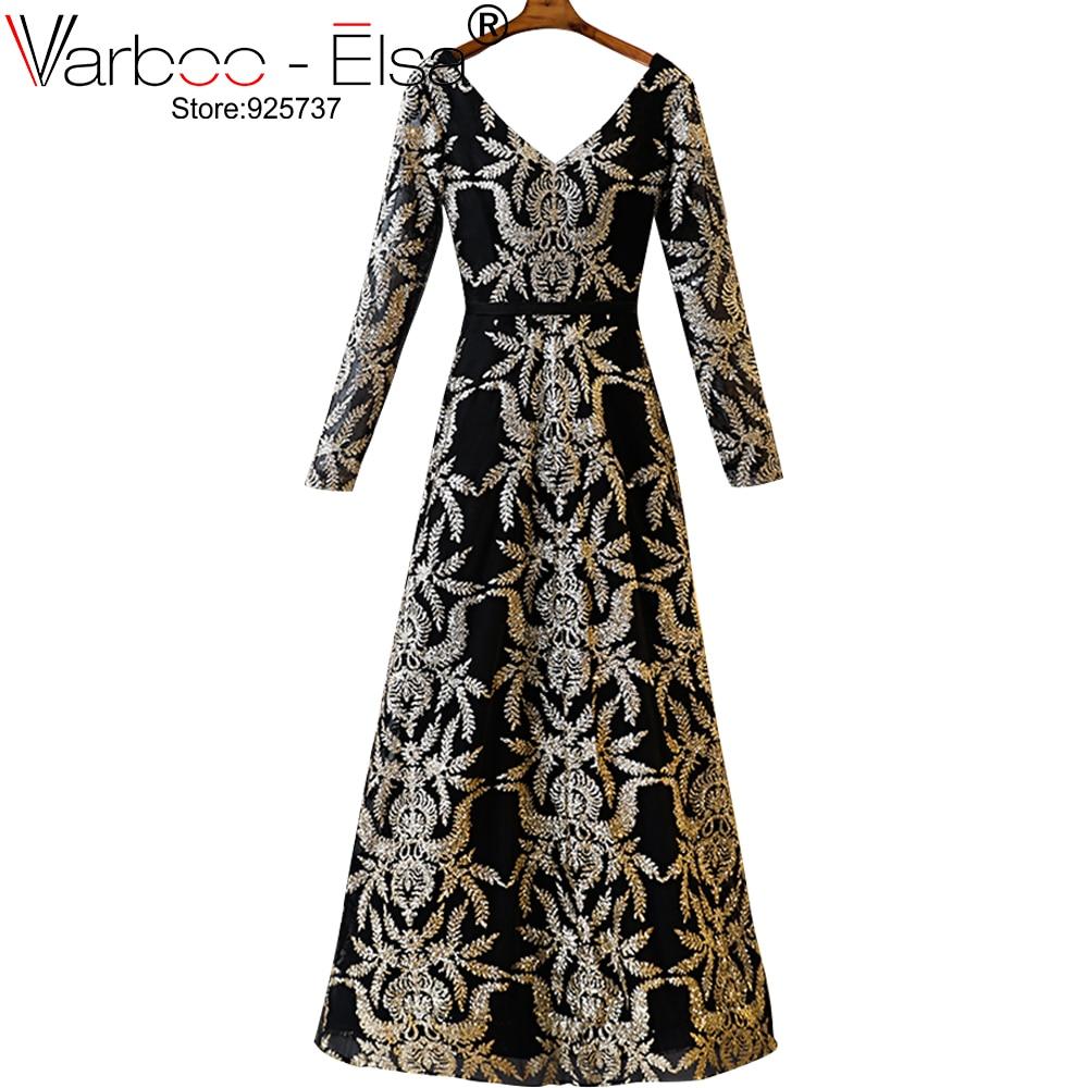 VARBOO_ELSA Shiny gold Muslim A Line Evening Dresses Dubai Arabic