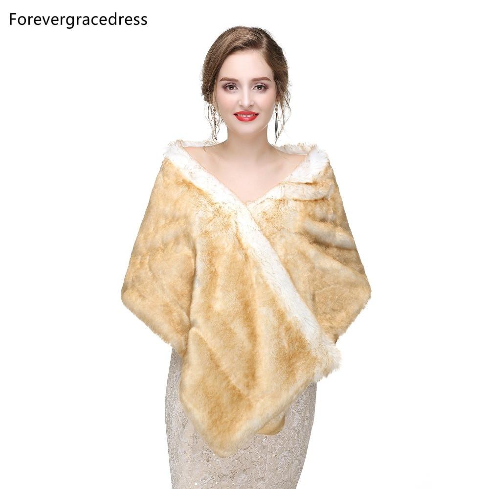 Forevergracedress 2019 Elegant Soft Autumn Winter Faux Fur Bride Wedding Wraps Bolero Jackets Bridal Coats Shawls Scarves PJ422