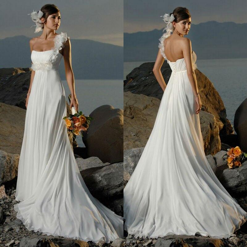 Enceinte détachable 2018 robes de mariée robe plage fleur étage longueur une épaule empire ceinture longue à la main H02