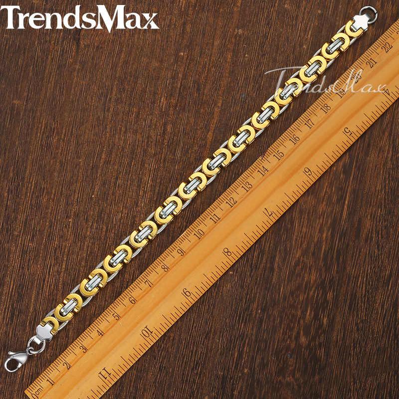 Męska bransoletka złoto srebro bizantyjski Link Chain bransoletki ze stali nierdzewnej dla biżuteria męska 2018 hurtownie Dropshipping 9mm KBB2A