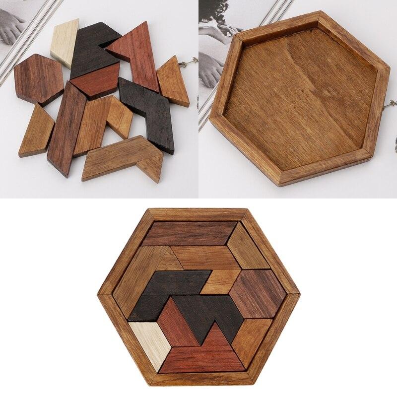 3d chinês de madeira puzzle jogo chexagon modelo cérebro teaser jigsaw placas de construção para crianças brinquedos educativos presentes