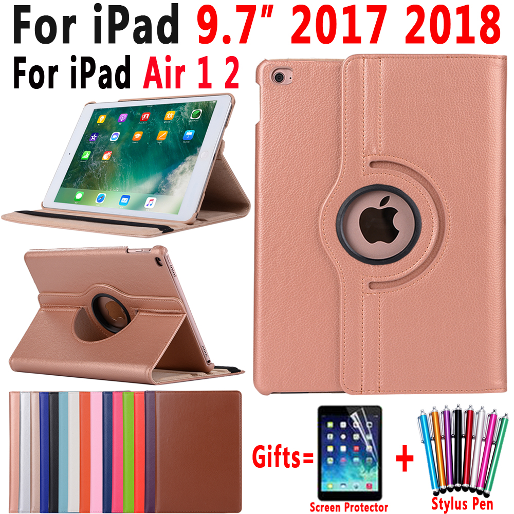 360Degree Rotating Leather Smart Cover Case for Apple iPad Air 1 Air 2 New iPad 9.7 2017 2018 A1822 A1823 A1893 Coque Capa Funda