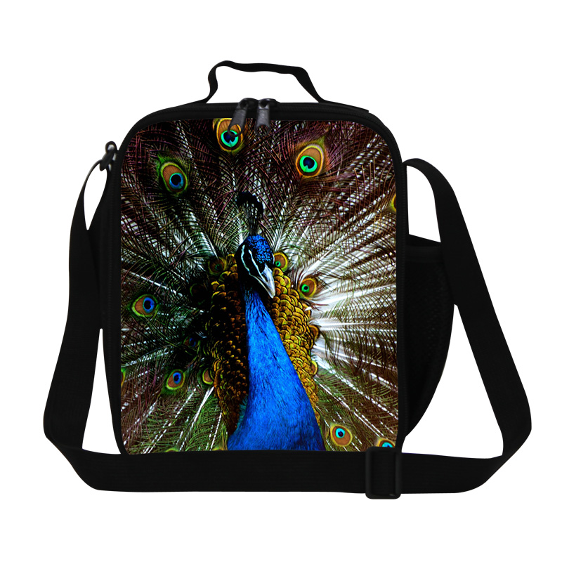 Casual Cute Peacock Print Lunch Bag For Girls Kids Picnic Food Bag Children School Thermal Insulated Lunch Box Free Shipping