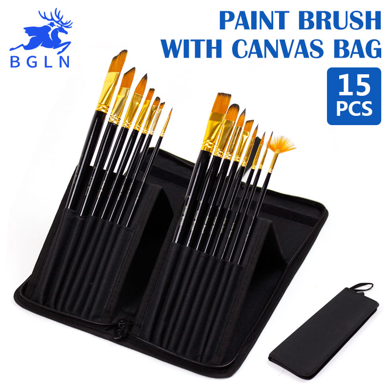 Bgln 15Pcs/Set Nylon Hair Professional Watercolor Paint Brush With Canvas Bag Oil Acrylic Painting Brush Stationery Art Supplies bgln 7pcs set mix hair nylon weasel hair professional watercolor paint brush watercolor painting brush stationery art supplies