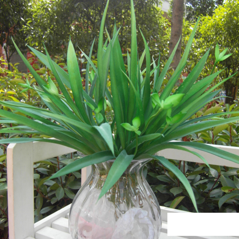 Green grass artificial plants fake plastic green leaves for Artificial leaves for decoration