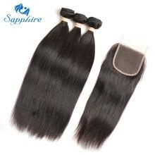 3 Комплект предложения бразильские прямые волосы с Накладные волосы бразильского Виргинские волос с Накладные волосы прямые натуральная Человеческие волосы салон сапфир