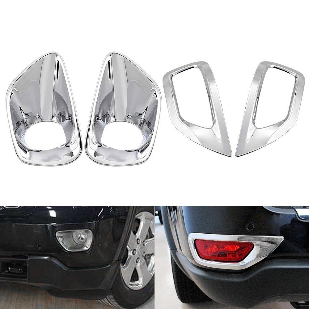 4 Pcs Brand New ABS Front Rear Chrome Fog font b Lamp b font Light Cover