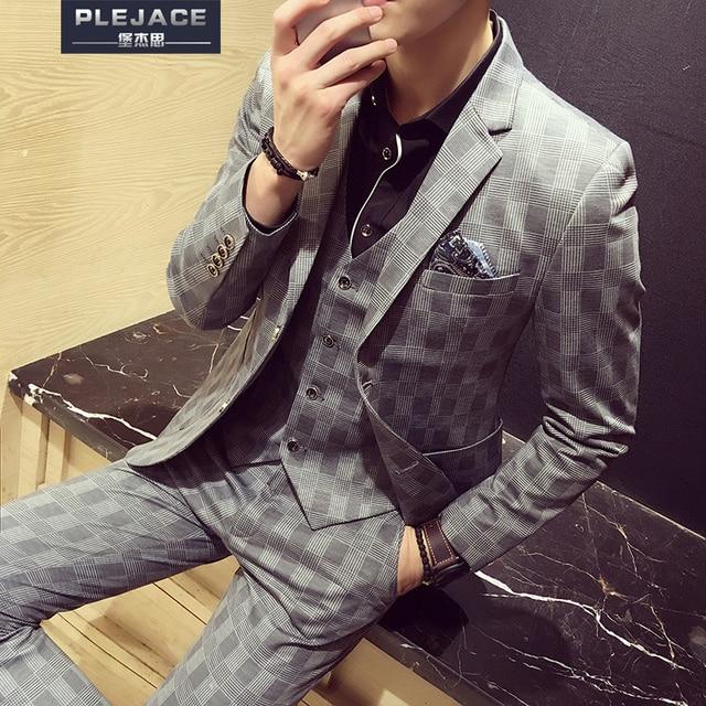 Плюс размер М-5XL последние конструкции пальто брюки Корейские костюмы мужчин 3 piece set тонкий вскользь Плед костюмы мужские бизнес свадебное платье костюм