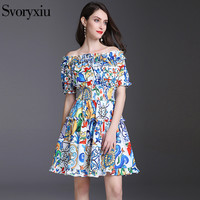 Svoryxiu Apparel Sexy Off Shoulder Floral Print Short Dress Women's 2018 Summer Beach Holiday Dress Runway
