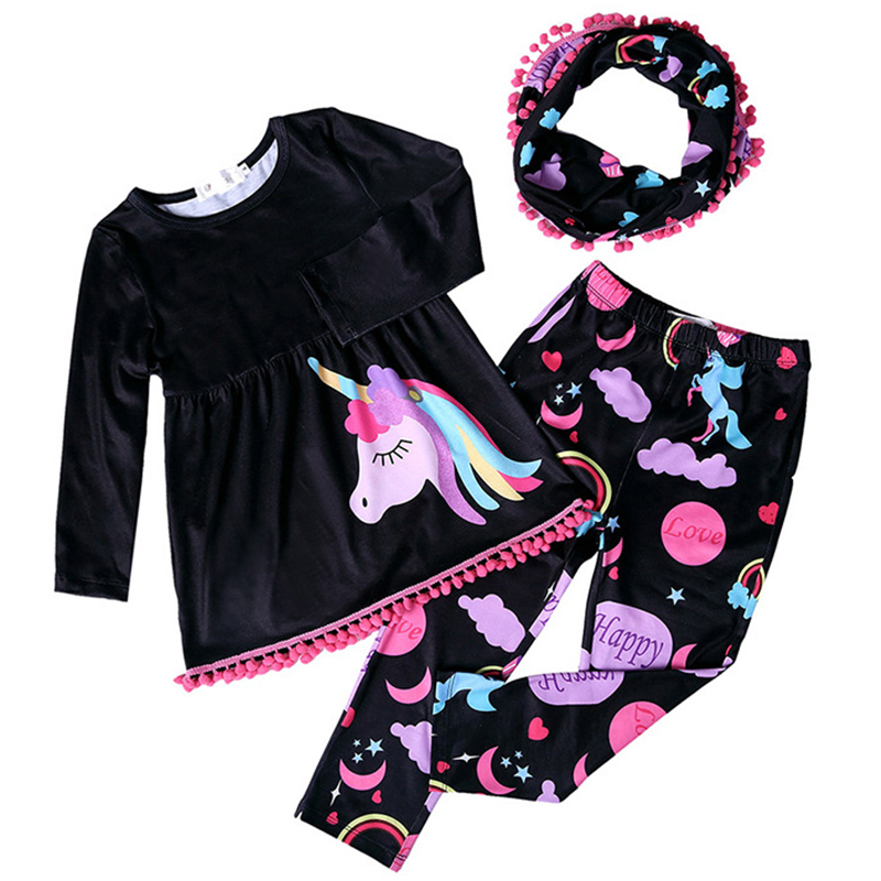купить Baby Suits Children Clothes Sets little girl Suits Cartoon pony Blouse T Shirt Dress Legging Pants 2Pcs Kids Clothing Sets по цене 312.86 рублей