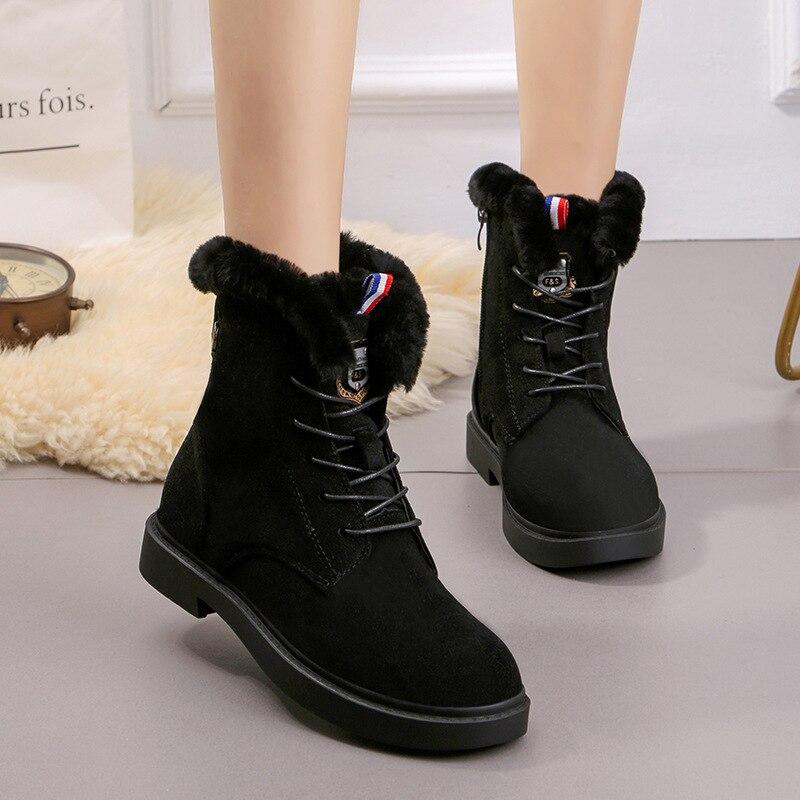 Cheville Chaussures Boot De Beige Couple Femme Femmes Bottes Chaud Épaisse Fourrure 2018 Anti Appartements Neige Coton patinage Semelle D'hiver noir vqT1ywWg