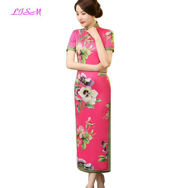 more photos 57ba0 f2a13 LISM Elegant Mother Dress Cinese TradizionaleCheongsam Raso di Seta Prugna  fiore Vestito Lungo-in Mother of the Bride Dresses from Weddings & Events  ...