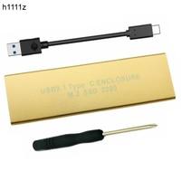 USB3.1 para M2 Caso SSD HDD Caixa USB3.1 Tipo-C para M.2 NGFF SSD Gabinete para 2230 2242 2260 2280 unidade de Disco Rígido HDD Caddy Alumínio Ouro