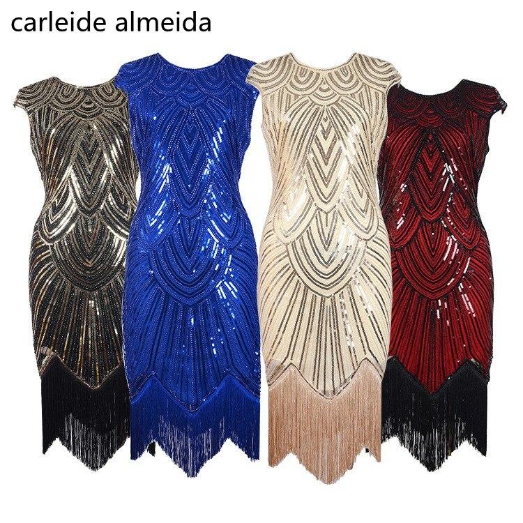 Vestido De Festa Evening Dress Sequined Abendkleider 1920s Vintage