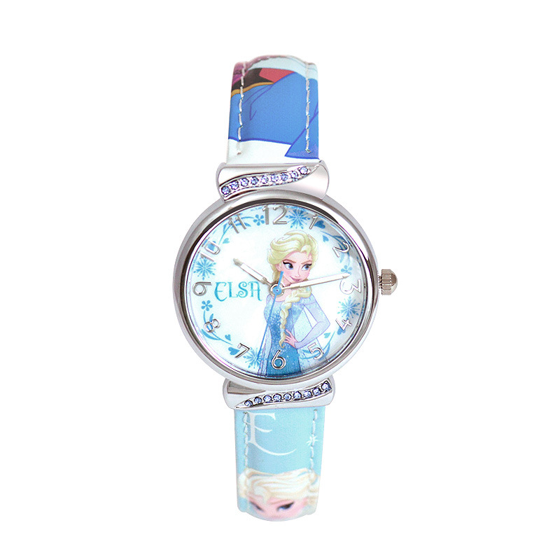 Kinder Uhren Disney marke kinder mädchen uhren cartoon Gefrorene studenten mädchen uhren wasserdichte leder quarz armbanduhr-in Kinderuhren aus Uhren bei