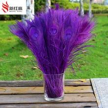 100 sztuk/partia fioletowy pawie pióra oczy 25 30 cm 10 12 Cal paw upierzenie art odzież sportowa pióropusz dekoracji