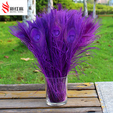 100pcs/Lot  purple Peacock feathers eyes 25 30 cm 10 12 Inch Peacock plumage art performance clothing plume decoration