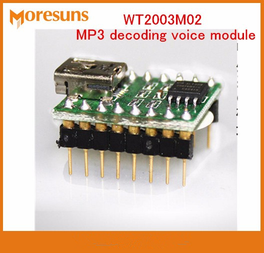 Free Ship USB Download FLASH storage WT2003M02 button serial port control MP3 decoding voice module Music IC MP3 Module image