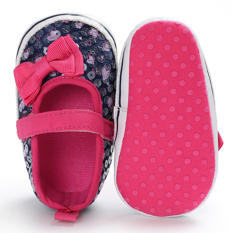 Raise Young Spring Summer Cotton Baby Girl First Walkers Bling Butterfly-knot Newborn Toddler Girl Shoes Infant Footwear 0-18M