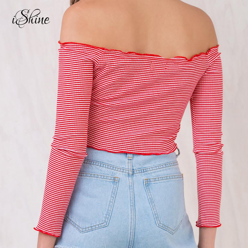 7e2df6f89b3 Fashion Women Midriff Baring Knitted Crop Top Sweaters Long sleeved Slash  Neck Off Shoulder Striped Sexy Slim Tops Sueter Mujer-in Pullovers from  Women's ...