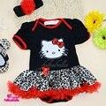 Новорожденный Dress 2017 Летом Hello Kitty С Коротким Рукавом Romper Dress 3 шт. Боди Костюм Младенческая Малышей Одежда для Новорожденных Наборы 0-2года