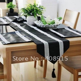 2Mx0.3M Luxury Black Faux Leather With Two Strip Diamond Table Runner Table  Mat,