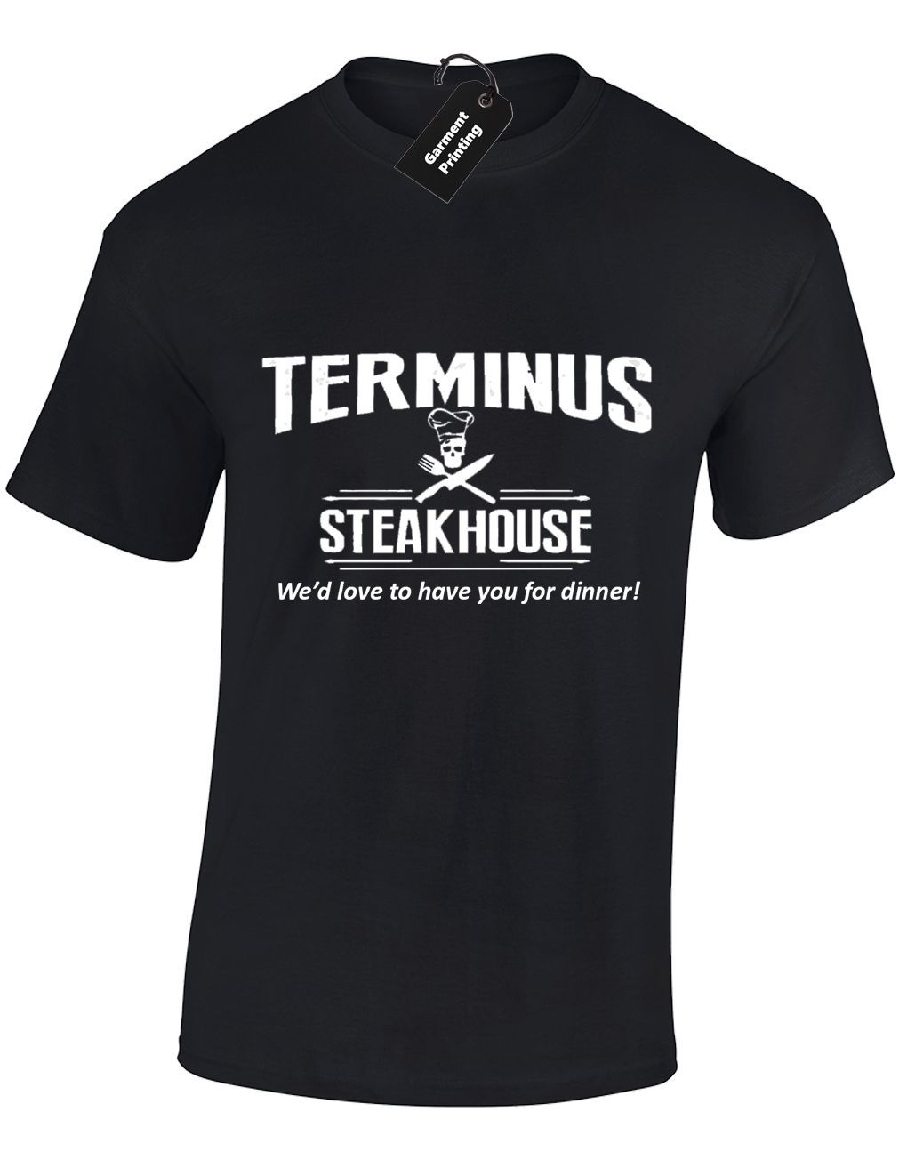 Terminus Steakhouse T Shirt Top Mens Walking Dead Funny Walking Dead Zombie Rick