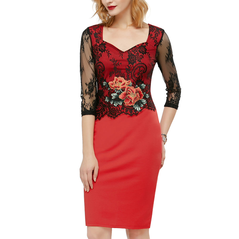 3e9abdbb3db Wipalo Sexy Lace Dress Women Embroidered Floral See Through Lace Party  Occasion Embroidery Slim Dress