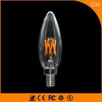 50PCS 3W E12 E14 LED Bulbs ,C32 LED Filament Candle Bulbs 360 Degree Light Lamp Vintage pendant lamps AC220V