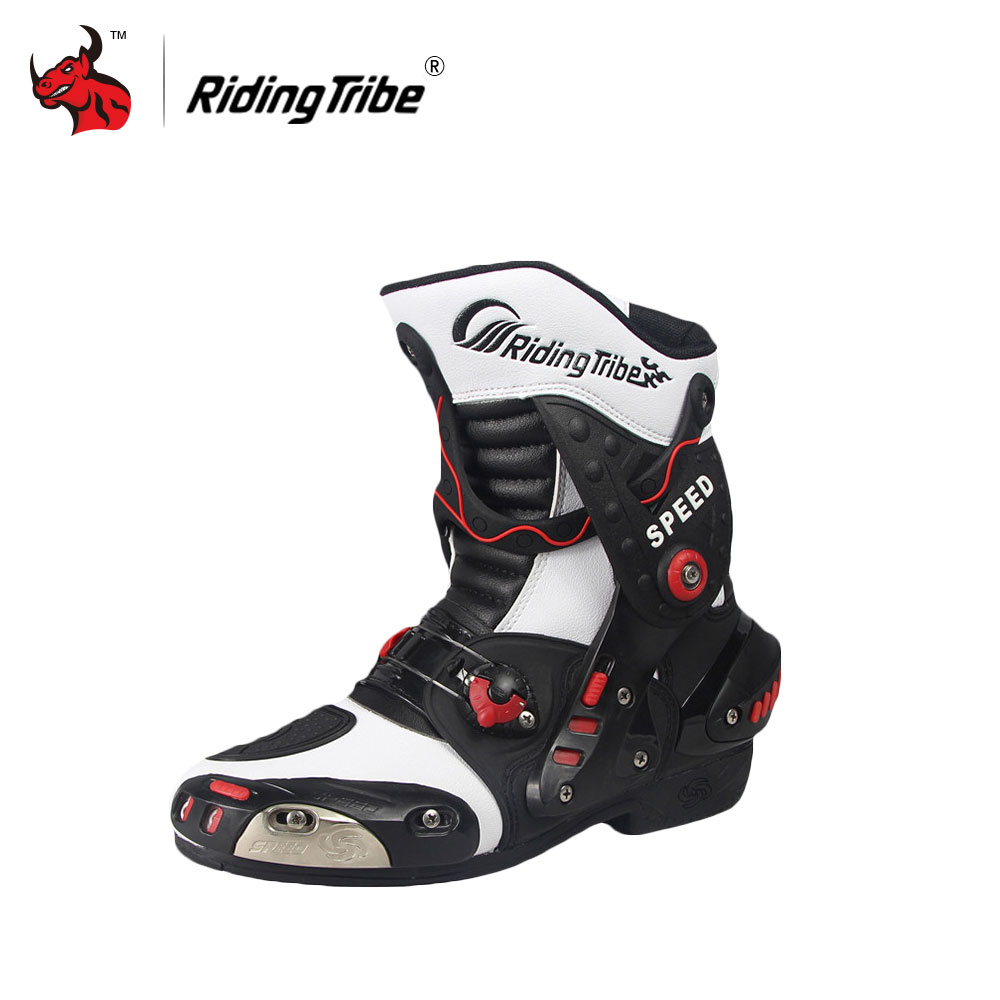 Riding Tribe SPEED BIKERS Motorcycle Boots Moto Racing Motocross Off-Road Motorbike Shoes BLACK RED WHITE