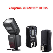 2018 YONGNUO YN720 Lithium Manual Speedlight Flash with Yongnuo 2PCS RF605 Wireless Trigger Transceiver for Canon Nikon Pentax