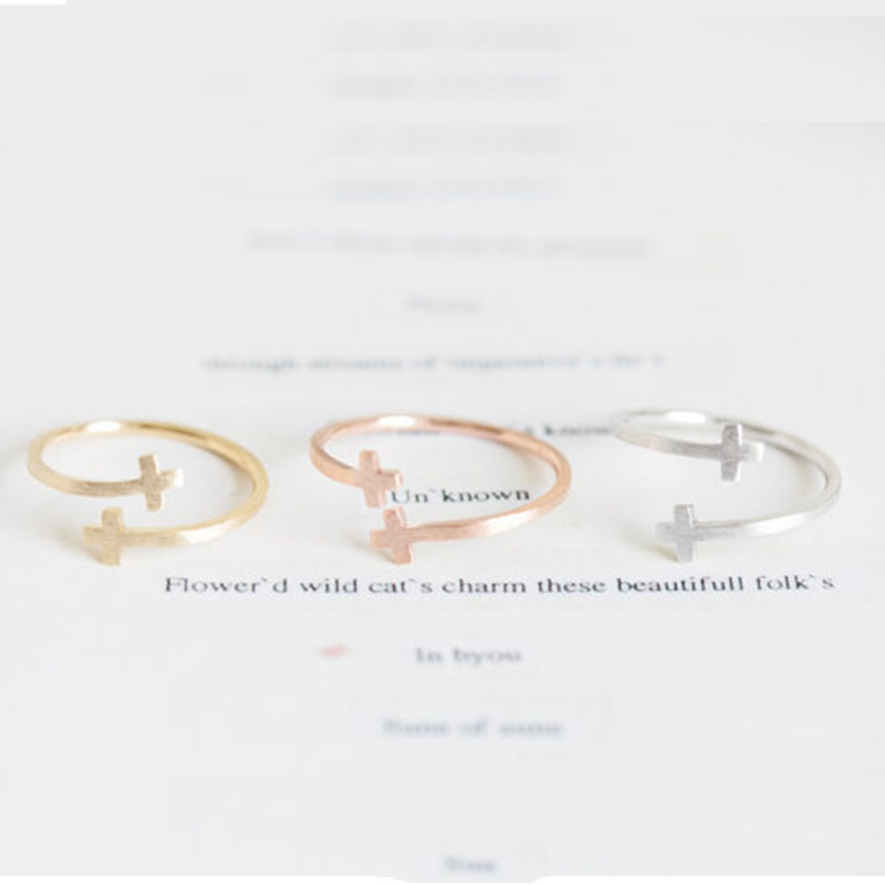 Fashion Jewelry Iron Jesus Sideways Double Cross Cuff Finger Religious Ring For Women Stretch Girl Rings Wholesale Free Shipping