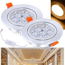 7W Warm White LED Downlight Round Recessed Lamp Led Spot lighting Ceiling Indoor Living Room Bedroom