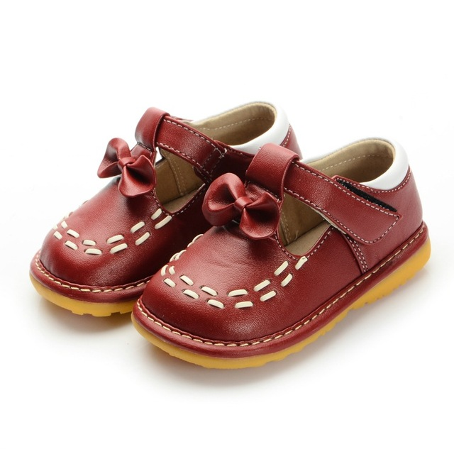 Dark Red Toddler Girl Squeaky Shoes Size 3 4 5 6 7 8 9 First Walkers Soft Sole Baby Leather Casual Shoes