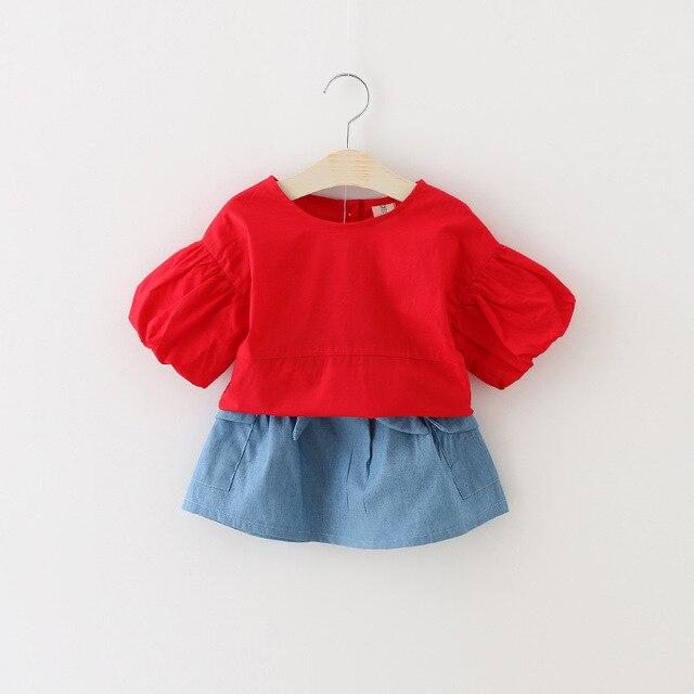Летние девушки одежда устанавливает сплошной джинсовая юбка + рубашка пуховкой рукав девочка платье комплект для 0-3Y малышей девочка летней одежды установить