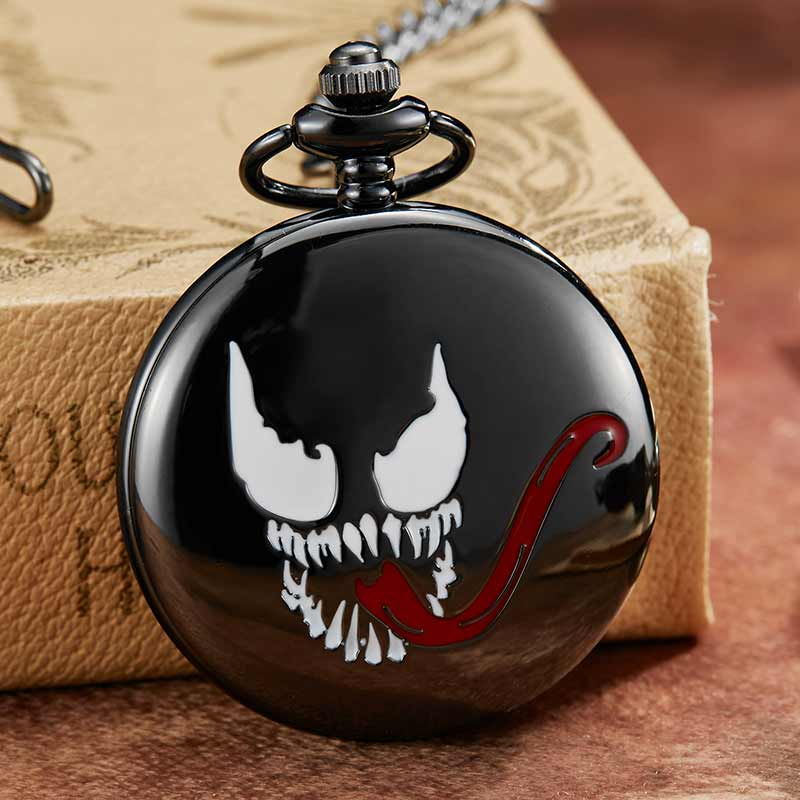 Vintage Cute Venom Black Smoothly Quartz Pocket Watch Men Women Retro Clock Men Necklace Pendant Chain For Boys Kids Gifts