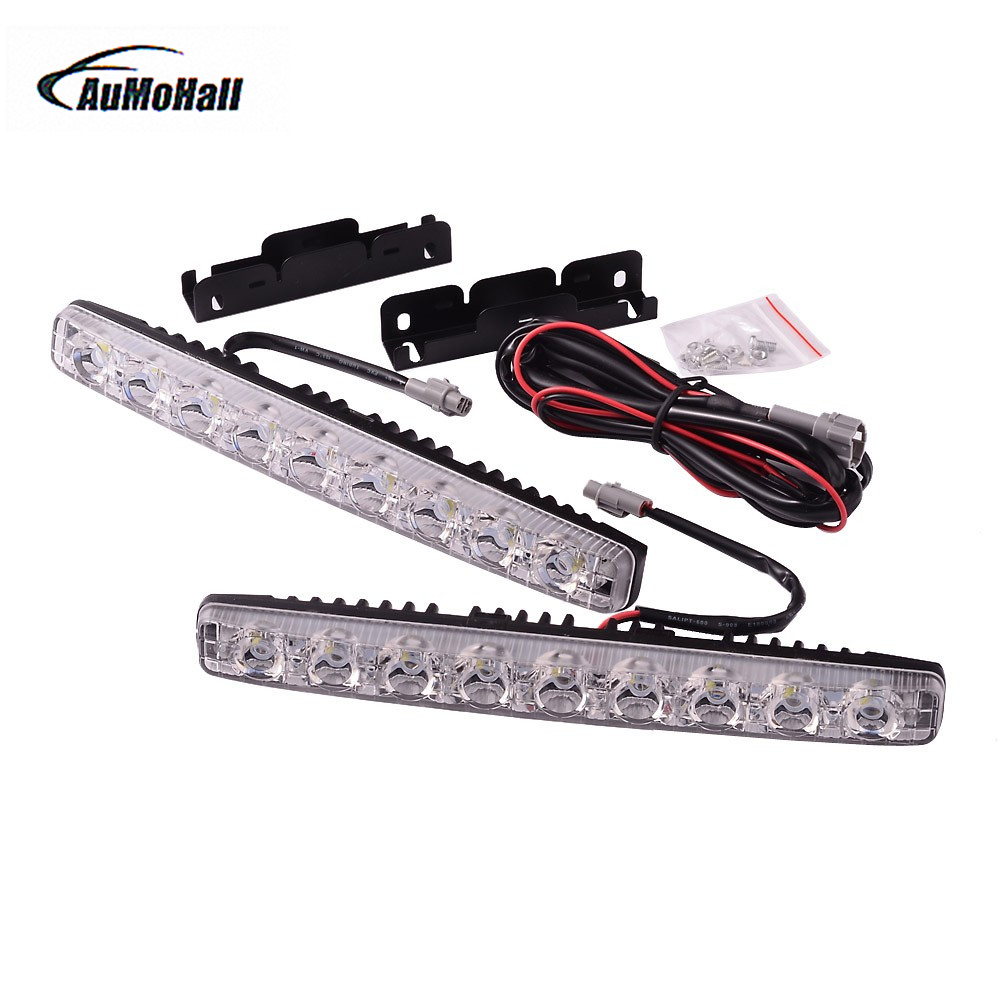 1 Kit 12V Super Bright 9 LED Chips DRL Turn Signal Indicator Light White Car Styling Light Source Car LED Daytime Running Light 12v 3 pins adjustable frequency led flasher relay motorcycle turn signal indicator motorbike fix blinker indicator p34