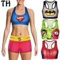 Entrenamiento Mujeres Crop Top Stretch Gimnasio Push Up Camis Spider-Man Superman Muscular Monstruo Moda 3D Print Recortada Feminin #160348