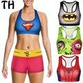 Treino Mulheres Camis Topo Colheita Trecho de Fitness Empurrar Para Cima Homem-Aranha Superman Músculo Monstro Moda 3D Imprimir Cropped Feminin #160348