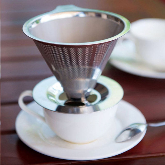 New Paperless Pour Over Coffee Dripper Stainless Steel Reusable Coffee Filter 4