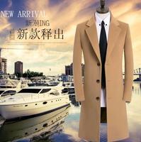 England casual long woolen coat men trench coats youth fashion overcoat mens cashmere coat casaco autumn winter khaki S 9XL