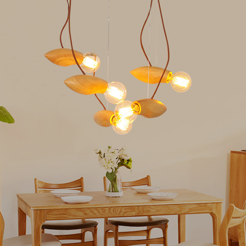 1PC Wooden Pendant Lights star living lights dining room bedroom lighting bees wood bar cafe store art wood pendant lamp southeast asia chinese style wooden veneer pendant lights living room restaurant lamp dining room lights