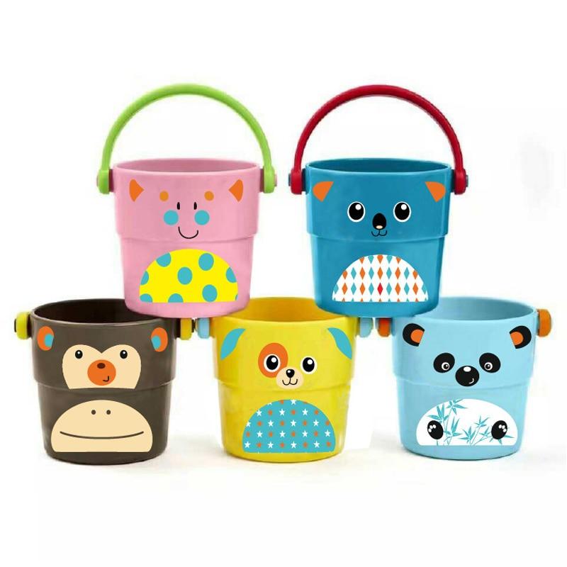 1 Pcs Stacking Shower Small Bucket Cartoon Animal Bathroom Bathing Water Spraying Tool Cute Style Baby Bath Toys